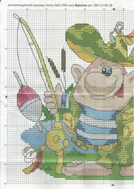 На рыбалке схема вышивки 64