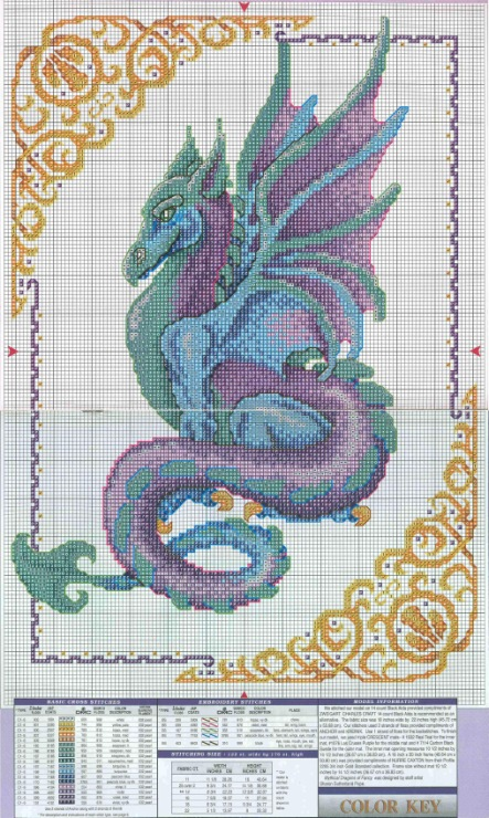 Вышивка дракона крестом схема 95