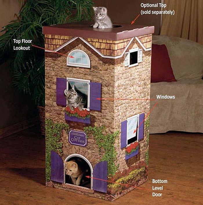Оригинальный домик для кошки из коробки своими руками