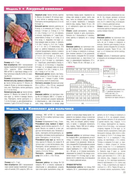 Шарф спицами для детей схема вязания спицами