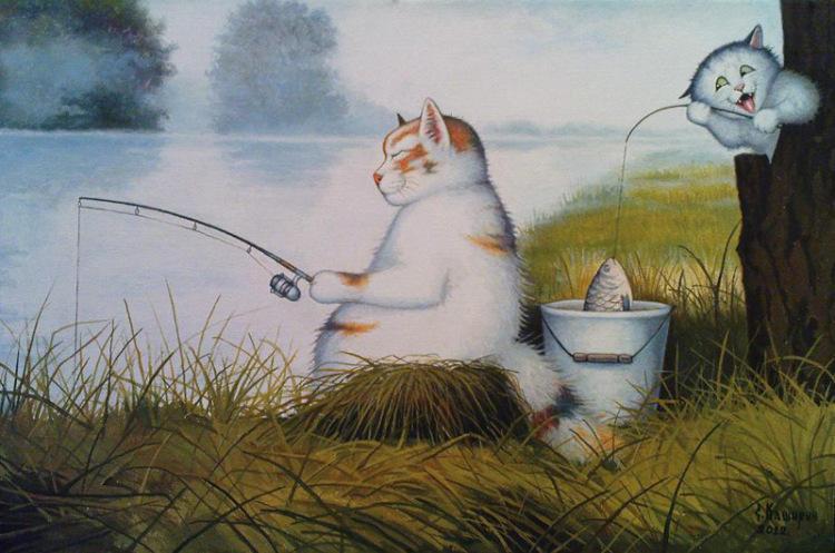 рисунки с котами на рыбалке