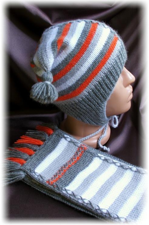 Вязание спицами полосатые шапки 61