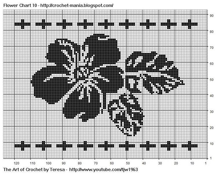 Схемы для вышивки монохром цветы 516