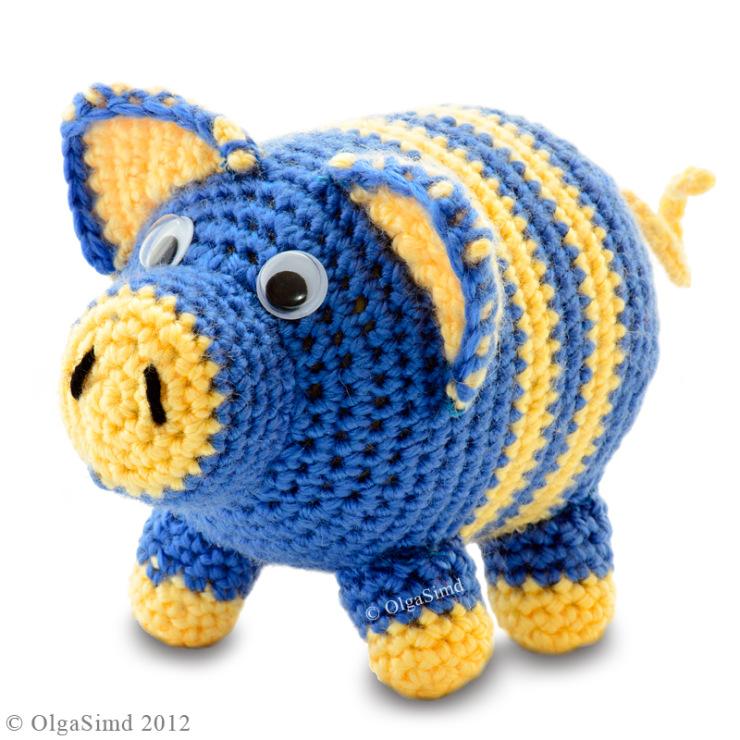 Вязание крючком игрушки свинка 436