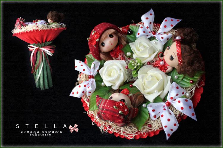 Как сделать букет с куклами