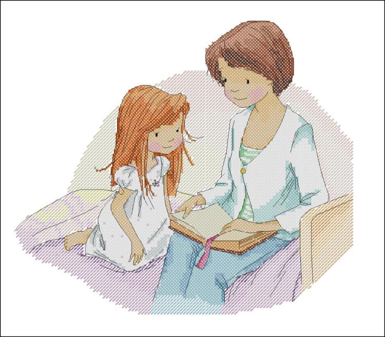 Вышивка мама с дочкой 91