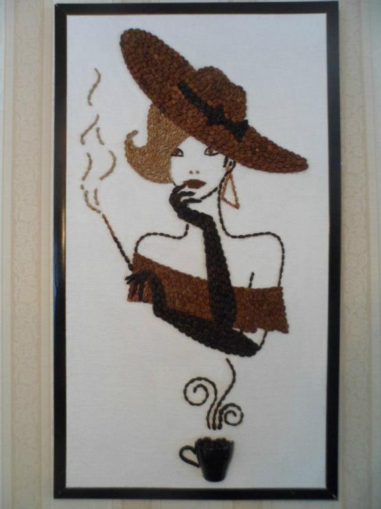 Картины с зернами кофе своими руками