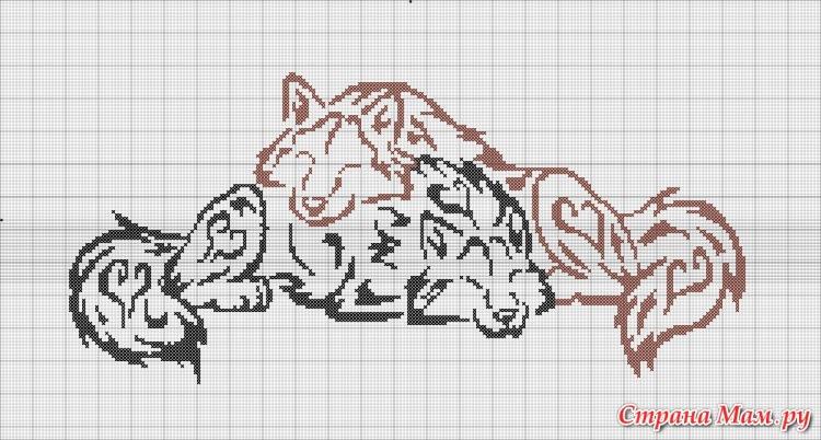 вышивка крестом волки монохром схемы