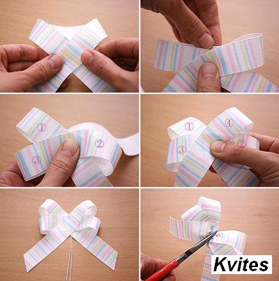 Как делать бантики из ленточек своими руками на видео