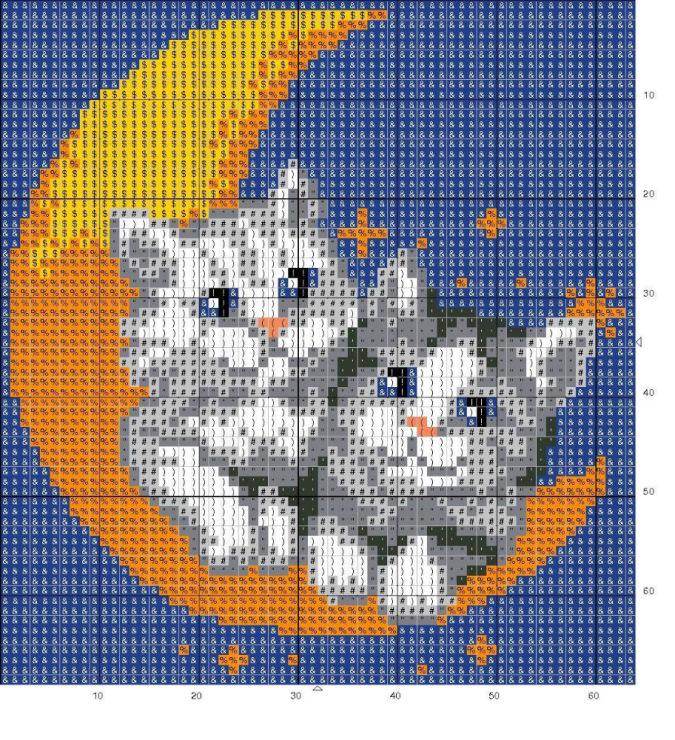 Вышивка крестом подушка котенок 89