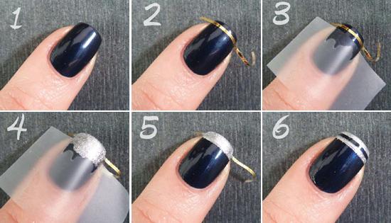 Как сделать маникюр с лентой