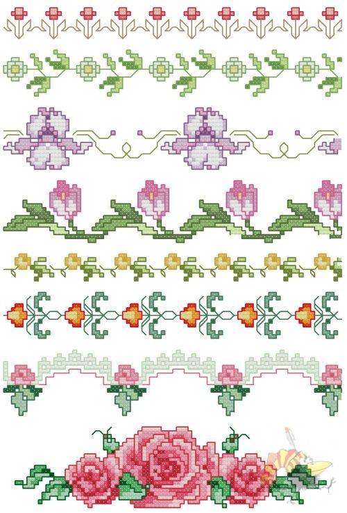Вышивка крестиком бордюр из мелких цветочков 83