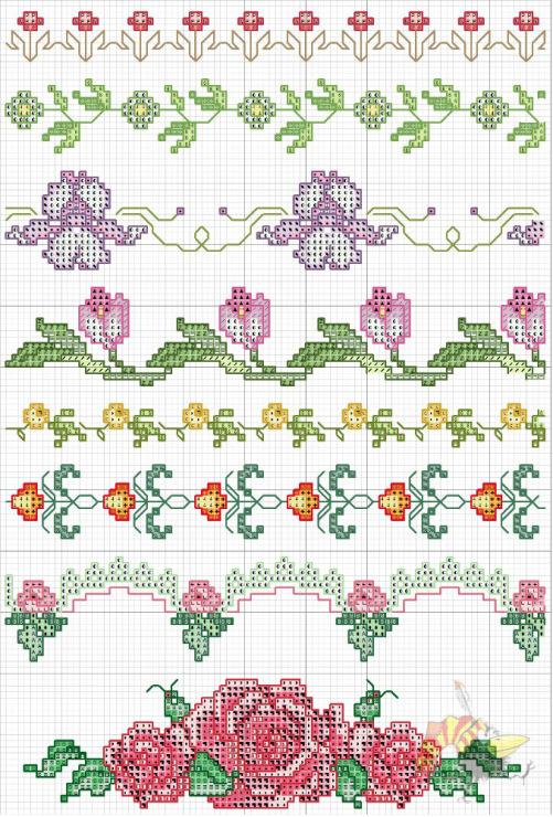 Вышивка крестиком бордюр из мелких цветочков 11