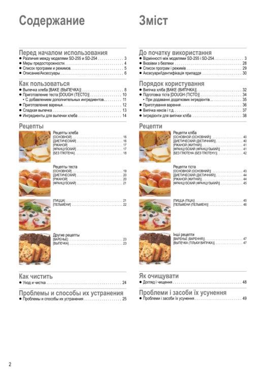 Рецепты для panasonic sd 254